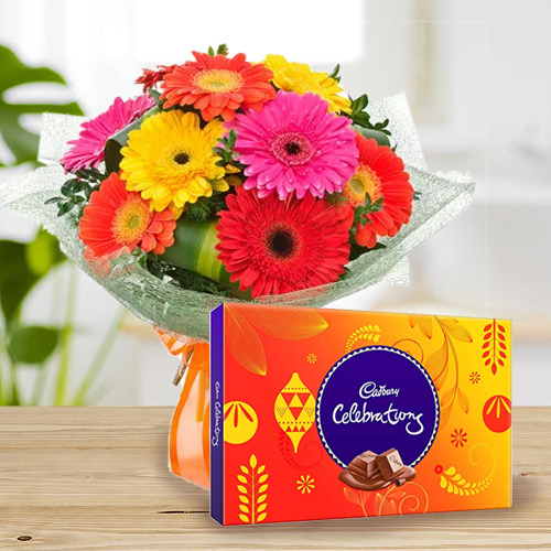 Birthday Styled Bouquet of Mixed Gerbera with Cadbury Celebration Chocolates