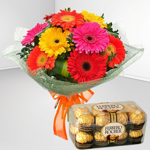 Online Combo of Mixed Gerbera Bouquet with Ferrero Chocolate