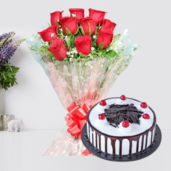 Glorious Black Forest Cake with Red Rose Bouquet for Birth-Day