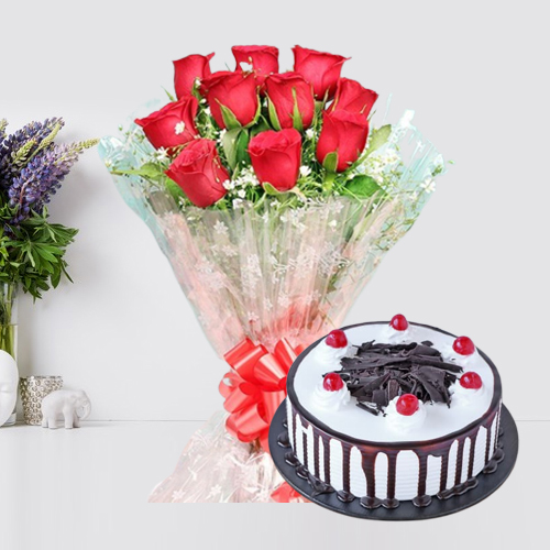 Deliver Black Forest Cake with Red Roses Bouquet Online