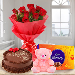 B Day Treat Chocolate Cake with Bouquet of Red Rose, Teddy N Cadbury Celebration