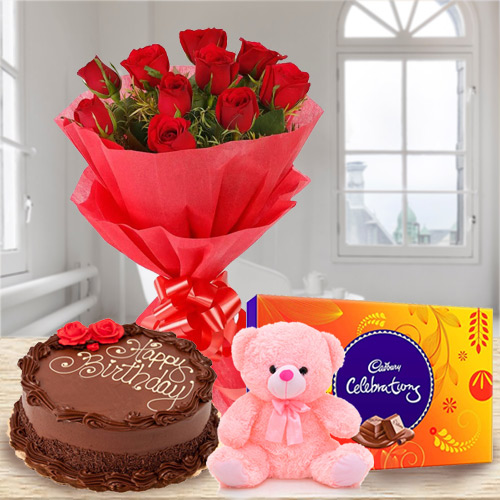 Online Chocolate Cake with Red Roses Bouquet, Teddy N Cadbury Celebration