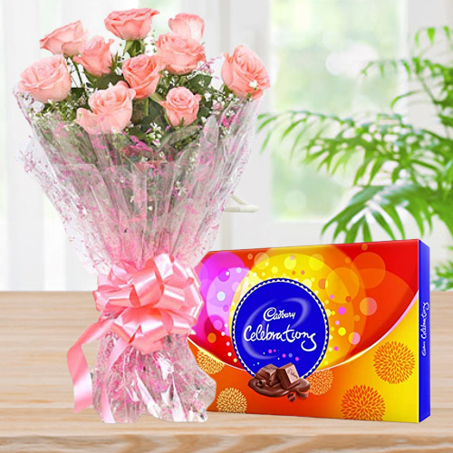 Online Deliver Combo of  Cadbury Celebration and Pink Roses
