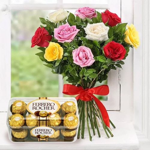 Order Gift of Mixed Roses and Ferrero Rocher Online