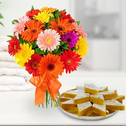 Online Gift Kaju Katli with Mixed Gerberas Arrangement