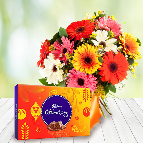 Send Online Cadbury Celebration Chocolate with Mixed Gerbera Bouquet