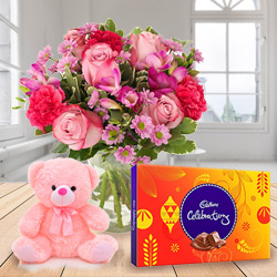 Anniversary Combo of Mixed Flowers in a Vase with Cadbury Celebration N Small Teddy