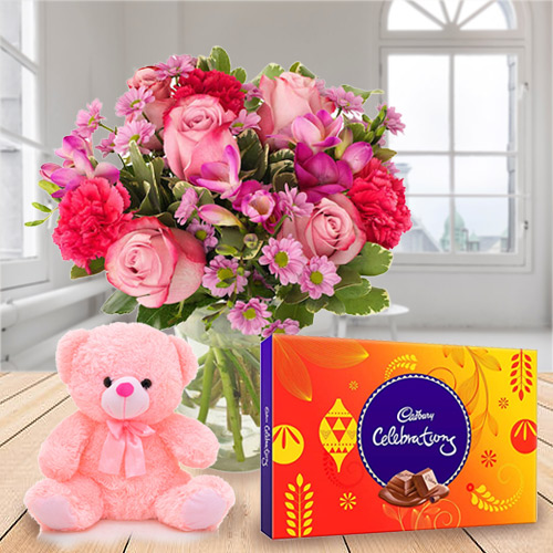 Online Deliver Mixed Flower in a Vase with Cadbury Celebration and Teddy
