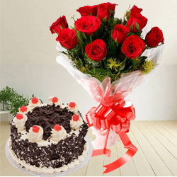 Attractive Anniversary Combo of Black Forest Cake N Bouquet of Red Rose