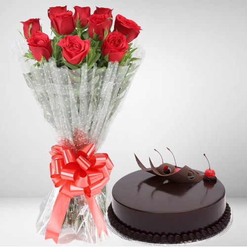 Buy Combo of Chocolate Cake N Red Roses Bouquet Online