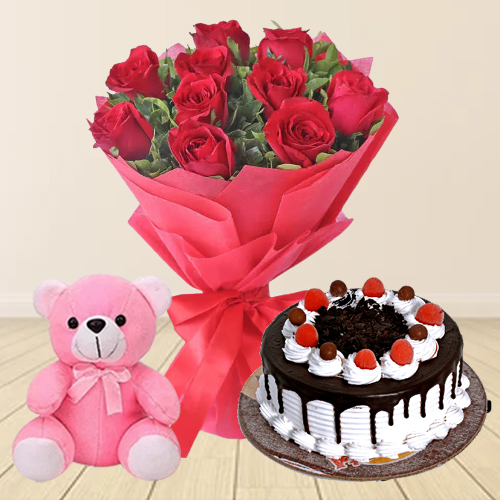 Shop Online Black Forest Cake with Teddy N Red Roses Bouquet