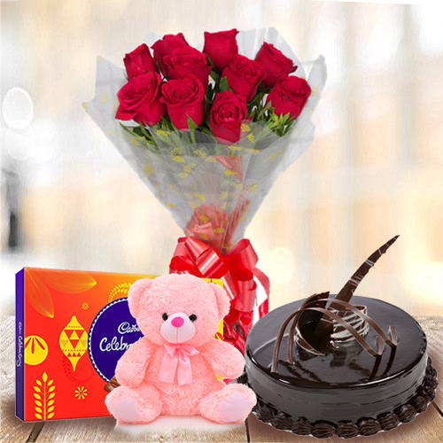 Online Order Chocolate Cake with Red Roses, Teddy N Cadbury Celebration Pack