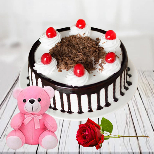 Deliver Online Black Forest Cake with Red Rose N Teddy