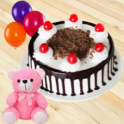 Anniversary Precious Single Rose with Beautiful Black Forest Cake, Teddy N Balloons