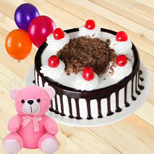 Send Black Forest Cake with Red Rose, Teddy N Balloons Online