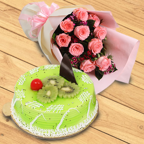 Order Online Kiwi Cake with Red Roses Bouquet
