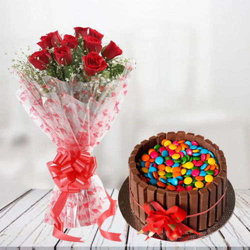 Gift Combo of Kitkat Cake N Red Roses Bouquet