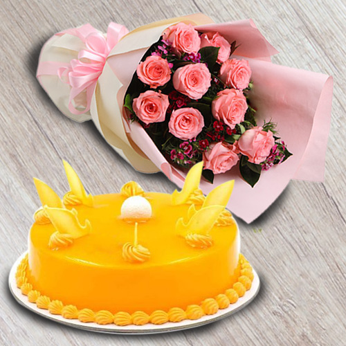 Book Mango Flavour Cake with Red Roses Bouquet