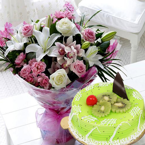 Buy Online Kiwi Cake with Mixed Flowers Bouquet