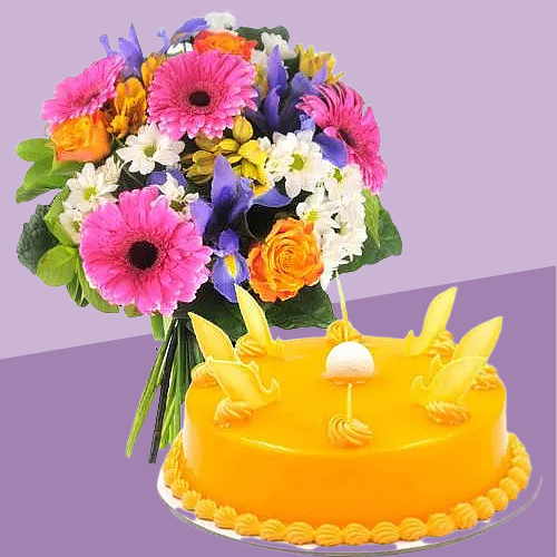 Shop Mango Cake with Mixed Flowers Bouquet