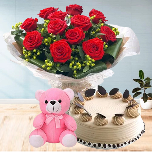 Gift Coffee Cake with Teddy N Red Roses Bouquet