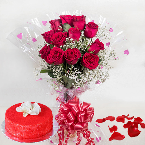 Book Online Red Velvet Cake with Red Roses Bouquet