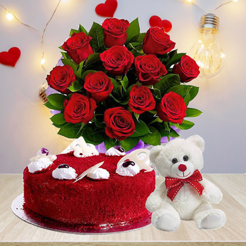Buy Combo of Red Velvet Cake with Teddy N Red Roses Bouquet