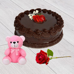Mouth-Watering Chocolate Cake with Teddy N Red Rose