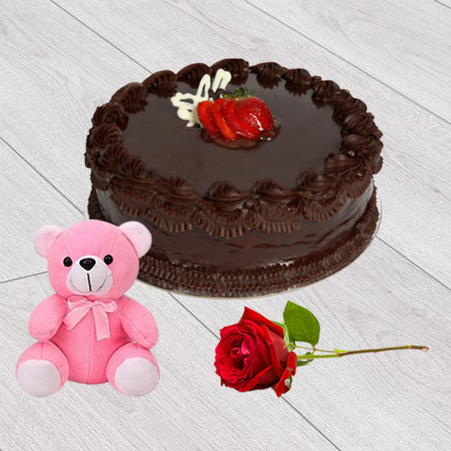 Order Online Chocolate Cake with Red Rose N Teddy