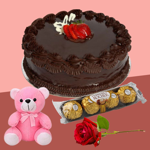 Deliver Online Chocolate Cake with Ferrero Rocher, Red Rose N Teddy