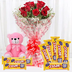 Breathtaking Combo of Red Roses Bouquet with Cadbury 5 Star N Teddy