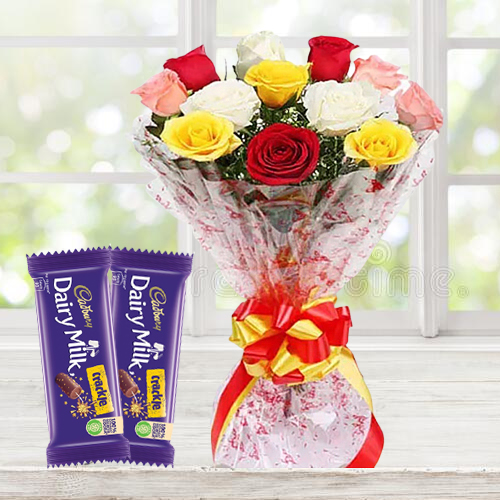 Classic Dairy Milk Crackle with Mixed Roses Bouquet