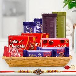 Gift Hamper of Tasty Chocolate with 1 Rakhi, Roli, Tilak and Chawal