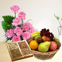 Classically-Styled Fresh Fruits Basket with Top Quality Mixed Dry Fruits and Pink Carnations Basket