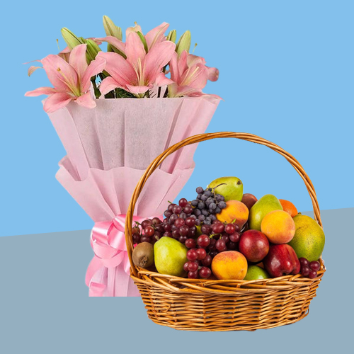 Delightful Gift of Garden-Fresh Fruits Baskets with Lilies Bouquet