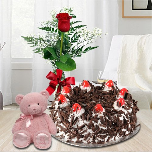 Order Black Forest Cake with Single Red Rose N a Small Teddy Online