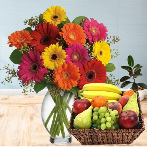Aromatic Gerberas in a Vase with Fruits Basket