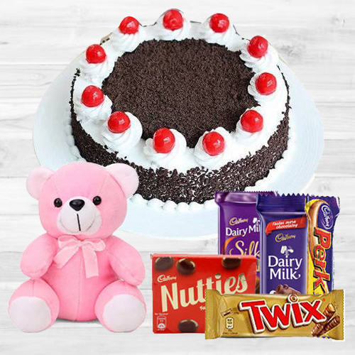 Send Online Black Forest Cake with Assorted Cadbury N a Small Teddy