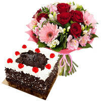 Artistic Multi-Colored Flowers Bouquet with Black Forest Cake