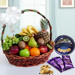 Delicious Danish Cookies N Chocolate Gift Basket with Fruits