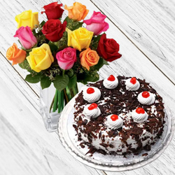 Stimulating 24 Mixed Roses with 1 Kg Black Forest Cake from Taj or 5 Star Bakery