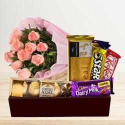 Joyful Selection of Pink Roses with Chocolate Gift Hamper