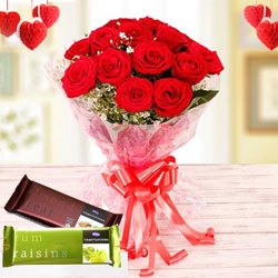 Charming Presentation of Red Roses with Cadbury Chocolates