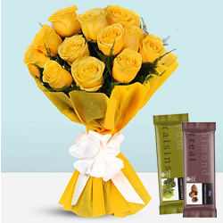 Tranquility Bouquet of Yellow Roses with Cadbury Temptations