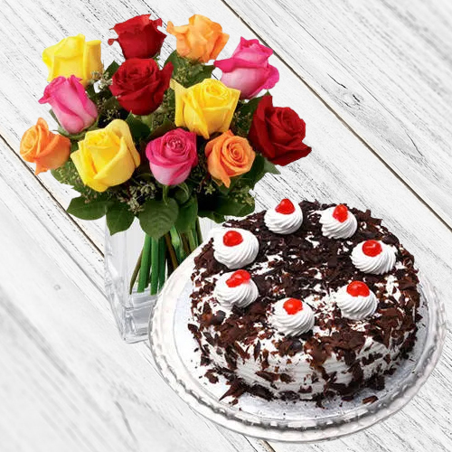 Deliver Mixed Roses with Black Forest Cake from Taj or 5 Star Bakery