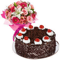 Magnificent Mixed Flower Arrangement with 1 Lb Black Forest Cake