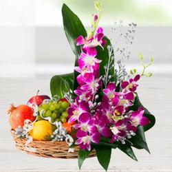 Premium Bamboo Basket Filled with Flower