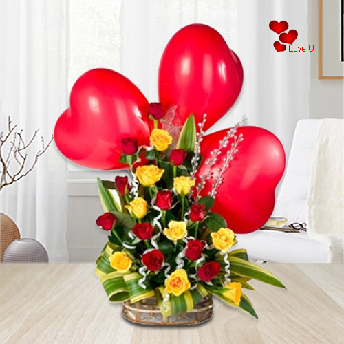 Heart Shape Balloons N Mixed Roses Basket for Rose Day
