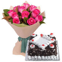Blooming 12 Pink Roses Bunch with 1/2 Kg Black Forest Cake