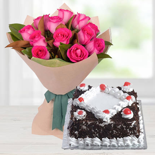 Shop Online Pink Roses Bunch with Black Forest Cake
